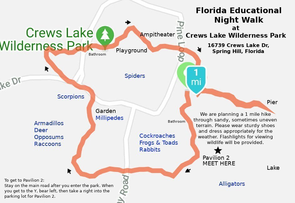 Map: Night Walk Route and Crews Lake Wilderness Park